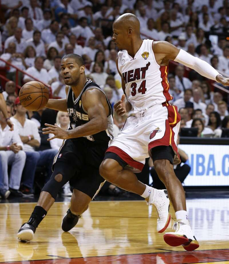 -s14- drives around Miami Heat's Ray Allen during first half action in Game 6 of the 2013 NBA Finals Tuesday, June 18, 2013 at American Airlines Arena in Miami. (Edward A. Ornelas/San Antonio Express-News)