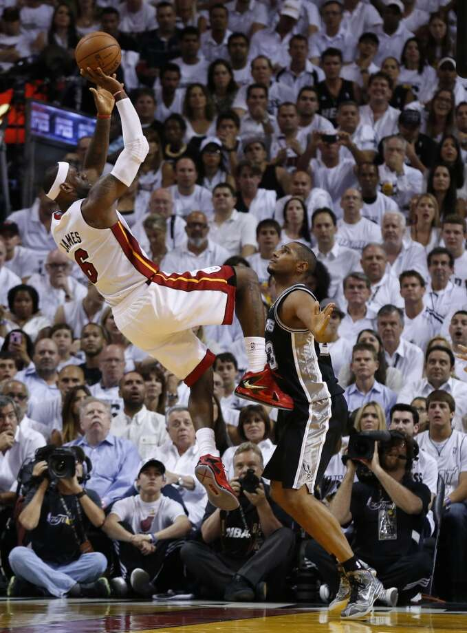 Miami Heat's LeBron James shoots over San Antonio Spurs' Boris Diaw during first half action in Game 6 of the 2013 NBA Finals Tuesday, June 18, 2013 at American Airlines Arena in Miami. (Edward A. Ornelas/San Antonio Express-News)