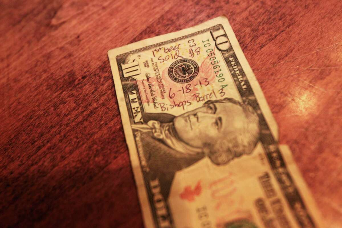 This $10 bill was used by a brewery visitor Tuesday to buy a beer directly from St. Arnold in Houston.
