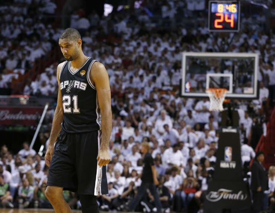 San Antonio Spurs' Tim Duncan walks back up the court during first half action in Game 6 of the 2013 NBA Finals Tuesday, June 18, 2013 at American Airlines Arena in Miami. (Edward A. Ornelas/San Antonio Express-News)