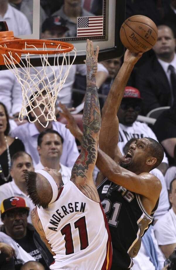 San Antonio Spurs' Tim Duncan shoots over Miami Heat's Chris Andersen during the first half of Game 6 of the NBA Finals at American Airlines Arena on Tuesday, June 18, 2013 in Miami. (Kin Man Hui/San Antonio Express-News)