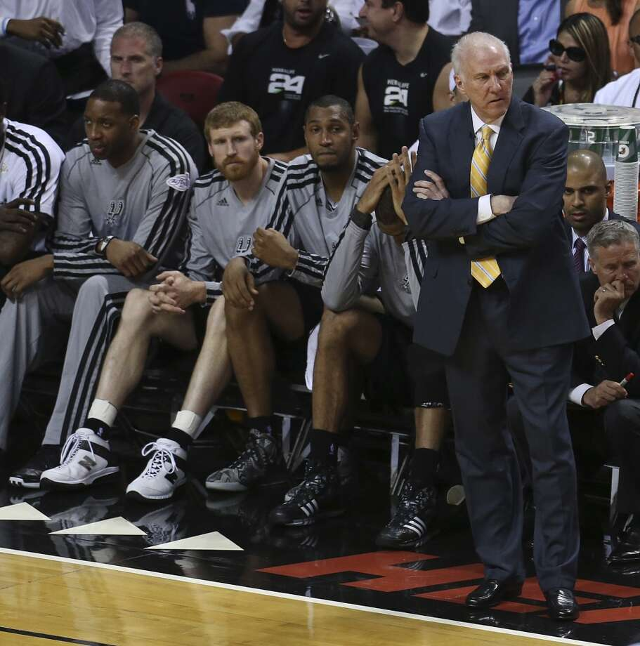 San Antonio Spurs head coach Gregg Popovich reacts during the first half of Game 6 of the NBA Finals at American Airlines Arena on Tuesday, June 18, 2013 in Miami. (Jerry Lara/San Antonio Express-News)