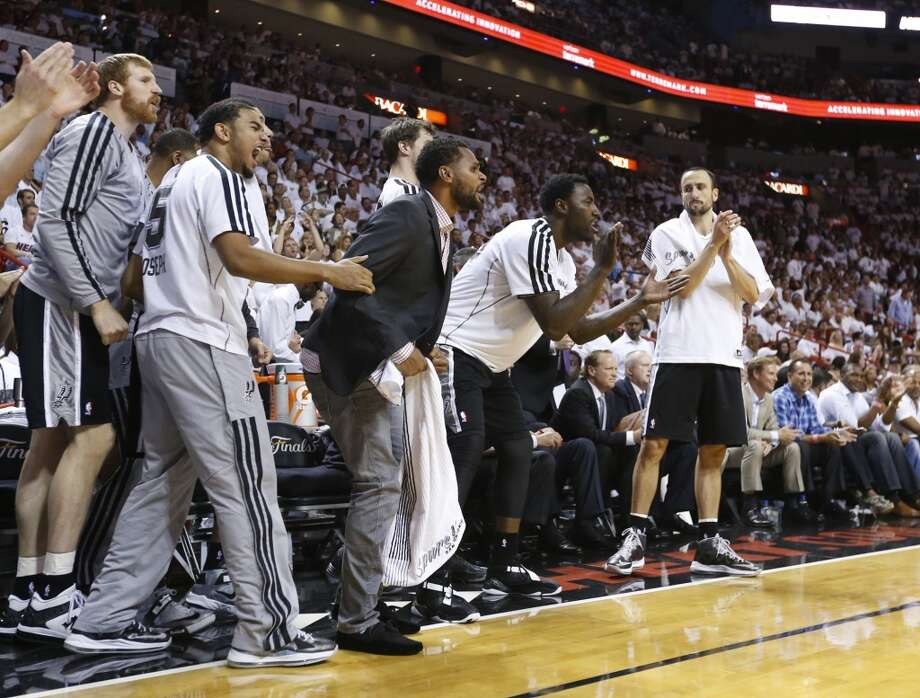 The Spurs' bench reacts during second half action in Game 6 of the 2013 NBA Finals Tuesday, June 18, 2013 at American Airlines Arena in Miami. (Edward A. Ornelas/San Antonio Express-News)
