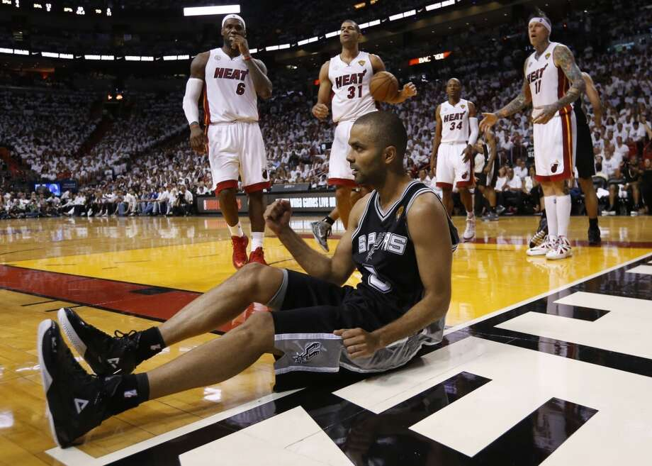 San Antonio Spurs' Tony Parker reacts as he gets a foul call during second half action in Game 6 of the 2013 NBA Finals Tuesday, June 18, 2013 at American Airlines Arena in Miami. (Edward A. Ornelas/San Antonio Express-News)
