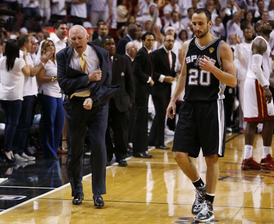 San Antonio Spurs head coach Gregg Popovich yells on the sidelines during thr 4th quarter during Game 6 of the 2013 NBA Finals Tuesday, June 18, 2013 at American Airlines Arena in Miami. (Edward A. Ornelas/San Antonio Express-News)