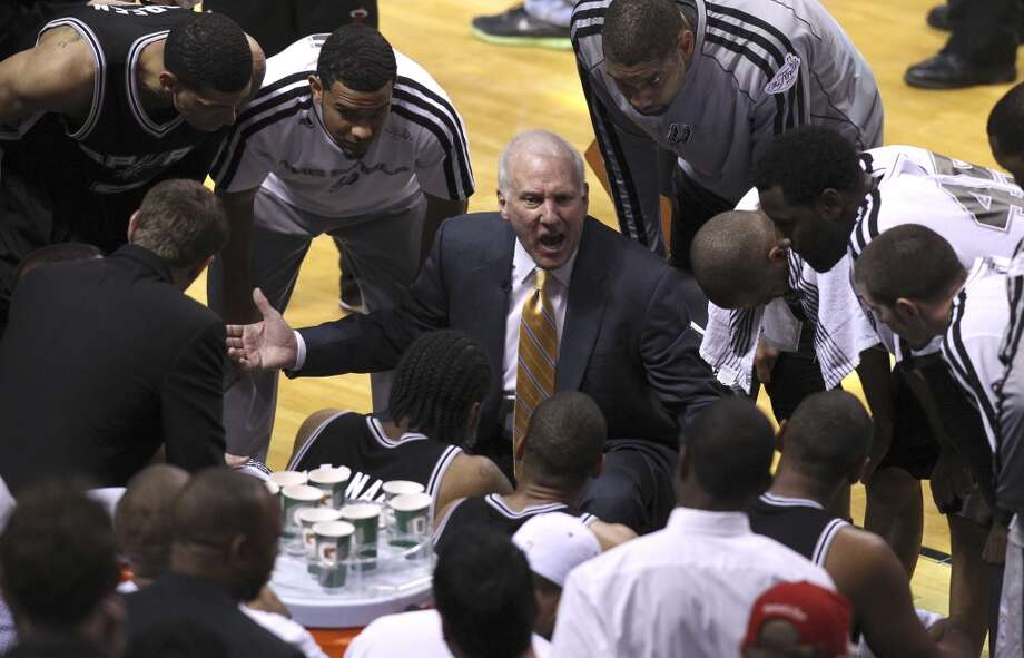 San Antonio Spurs head coach Gregg Popovich yells at the team during the second half of Game 6 of the NBA Finals at American Airlines Arena on Tuesday, June 18, 2013 in Miami. (Kin Man Hui/San Antonio Express-News)