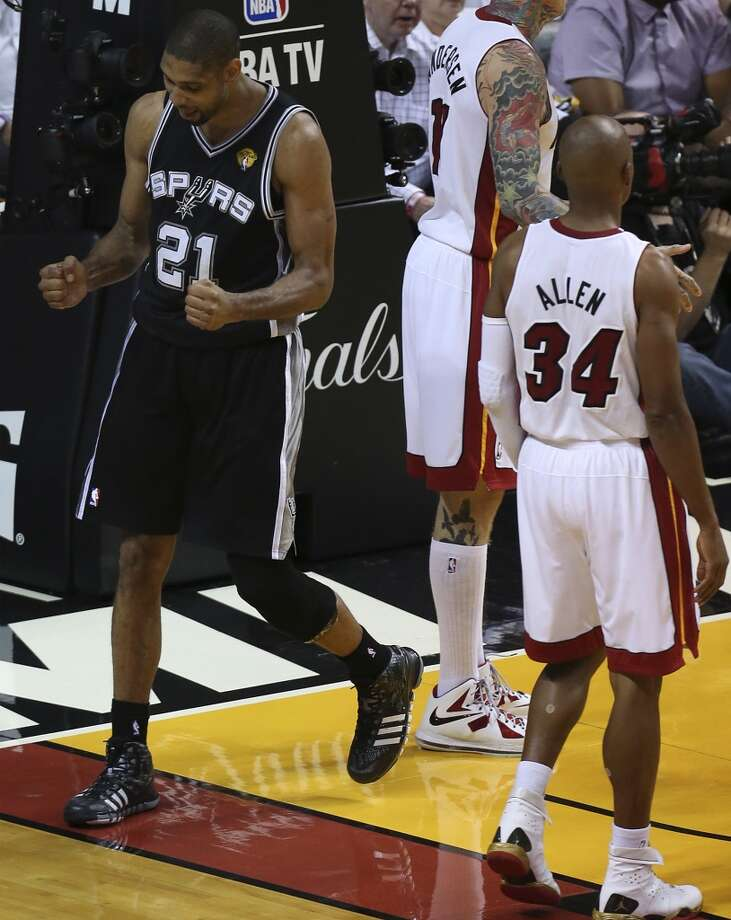 San Antonio Spurs' Tim Duncan reacts during the second half of Game 6 of the NBA Finals at American Airlines Arena on Tuesday, June 18, 2013 in Miami. (Jerry Lara/San Antonio Express-News)