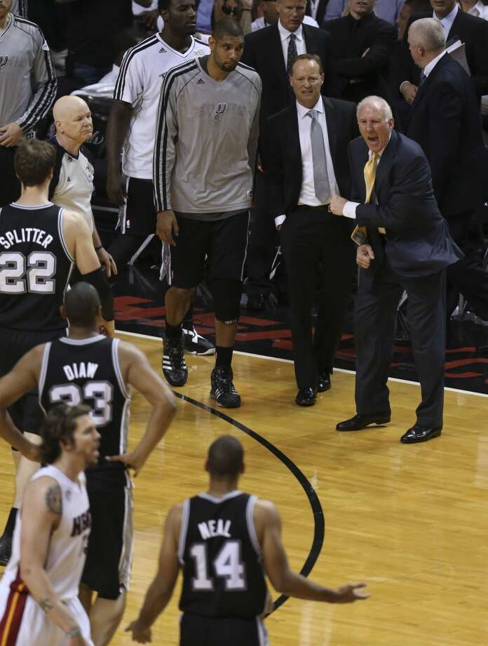 San Antonio Spurs head coach Gregg Popovich reacts late  to the Spurs playing during the second half of Game 6 of the NBA Finals at American Airlines Arena on Tuesday, June 18, 2013 in Miami. (Jerry Lara/San Antonio Express-News)