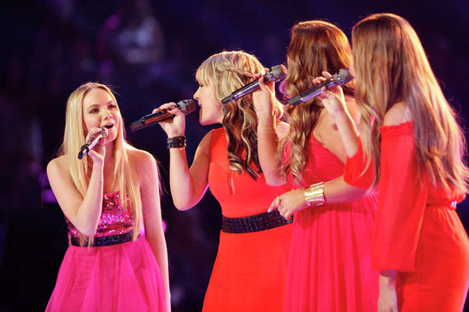 "THE VOICE -- Episode 419B ""Live Finale"" -- Pictured: (l-r) Danielle Bradbery, Amber Carrington, Sarah Simmons, Caroline Glaser -- Photo: NBC, Trae Patton/NBC / 2013 NBCUniversal Media, LLC"