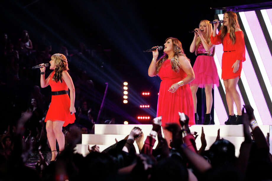 "THE VOICE -- Episode 419B ""Live Finale"" -- Pictured: (l-r) Amber Carrington, Sarah Simmons, Danielle Bradbery, Caroline Glaser -- Photo: NBC, Trae Patton/NBC / 2013 NBCUniversal Media, LLC"