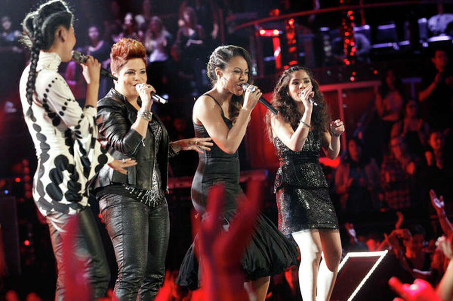 "THE VOICE -- Episode 419B ""Live Finale"" -- Pictured: (l-r) Judith Hill, Karina Iglesias, Sasha Allen, Cathia -- Photo: NBC, Trae Patton/NBC / 2013 NBCUniversal Media, LLC"