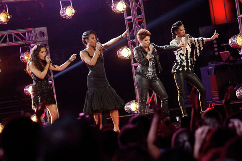 "THE VOICE -- Episode 419B ""Live Finale"" -- Pictured: (l-r) Cathia, Sasha Allen, Karina Iglesias, Judith Hill -- Photo: NBC, Trae Patton/NBC / 2013 NBCUniversal Media, LLC"