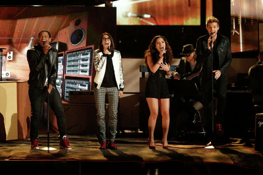 "THE VOICE -- Episode 419B ""Live Finale"" -- Pictured: (l-r) Vedo, Michelle Chamuel, Cathia, Josiah Hawley -- Photo: NBC, Tyler Golden/NBC / 2013 NBCUniversal Media, LLC"