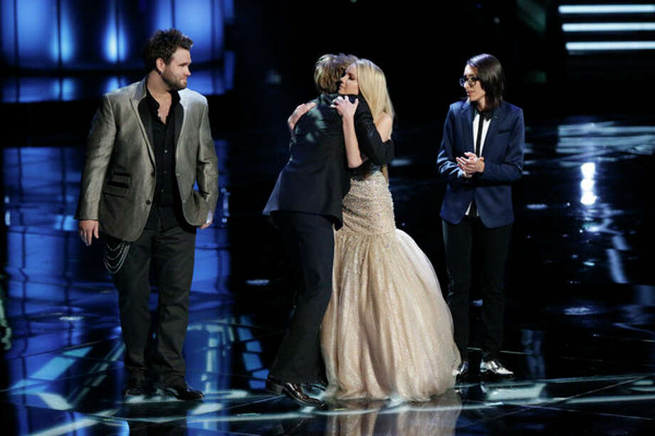 "THE VOICE -- Episode 419B ""Live Finale"" -- Pictured: (l-r) Zach Swon, Colton Swon of The Swon Brothers, Danielle Bradbery, Michelle Chamuel -- Photo: NBC, Tyler Golden/NBC / 2013 NBCUniversal Media, LLC"