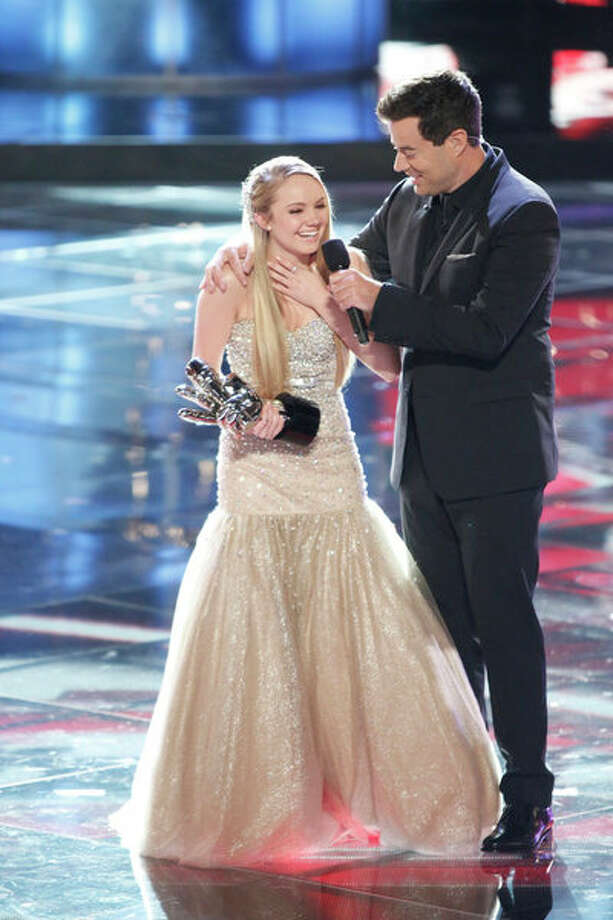 "THE VOICE -- Episode 419B ""Live Finale"" -- Pictured: (l-r) Danielle Bradbery, Carson Daly -- Photo: NBC, Tyler Golden/NBC / 2013 NBCUniversal Media, LLC"