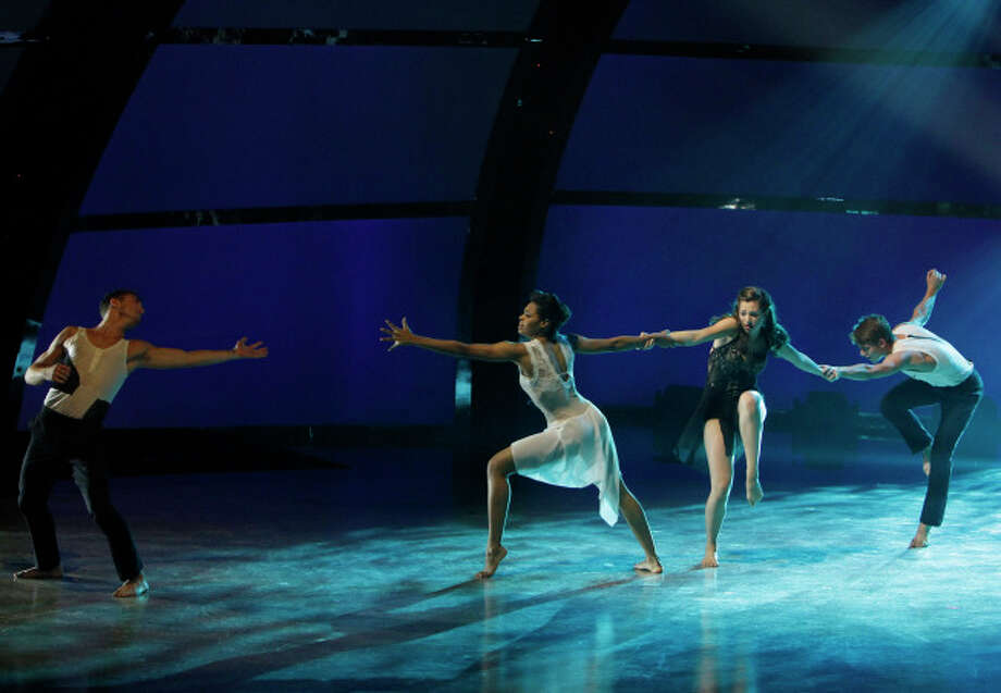 """SO YOU THINK YOU CAN DANCE: Contemporary dancers (L-R) Tucker Knox, Jasmine Harper, Makenzie Dustman and Nico Greetham perform a routine in their dance genre in the """"Meet the Top 20"""" episode of SO YOU THINK YOU CAN DANCE airing Tuesday, June 18 (8:00-10:00 PM ET/PT) on FOX. ©2012 FOX Broadcasting Co. Cr: Adam Rose/FOX"""