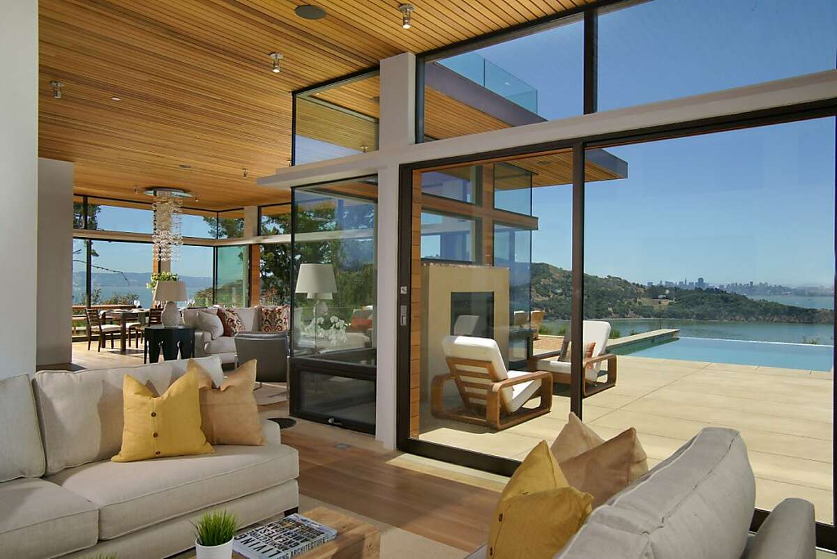 San Francisco's skyline is visible from the family room of 460 Ridge Road in Tiburon.