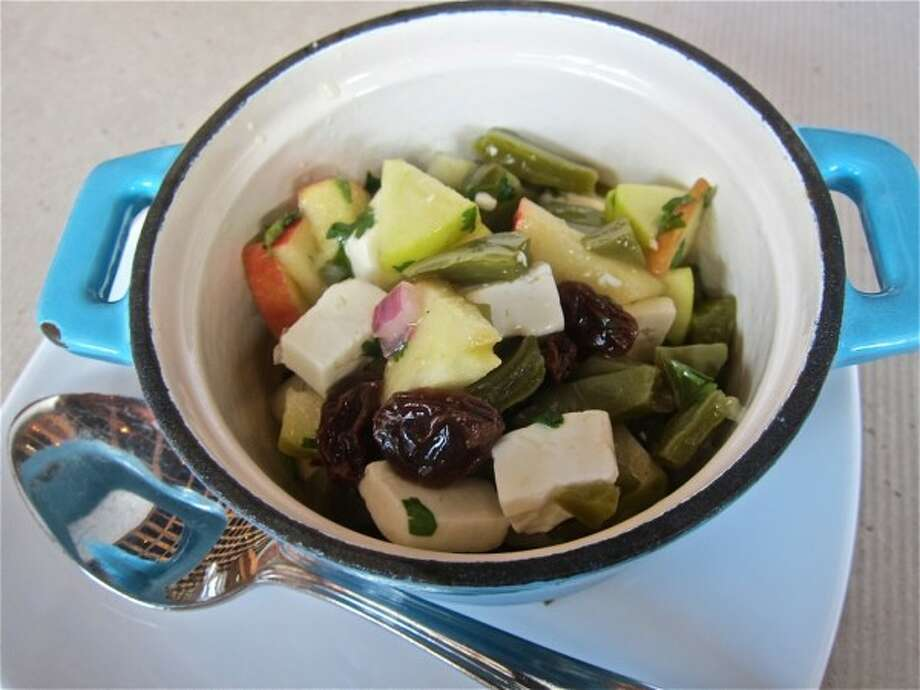 On a recent visit, Cuchara's comida corrida included a salad of nopales, apple and queso fresco. Find out why this soup was a 'lifesaver' during Cook's travels to Mexico. Photo: Alison Cook