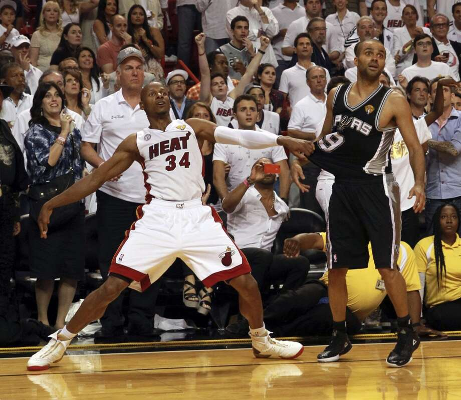 Heat guard Ray Allen watches to see if his last-second 3-pointer in the fourth quarter will go in.