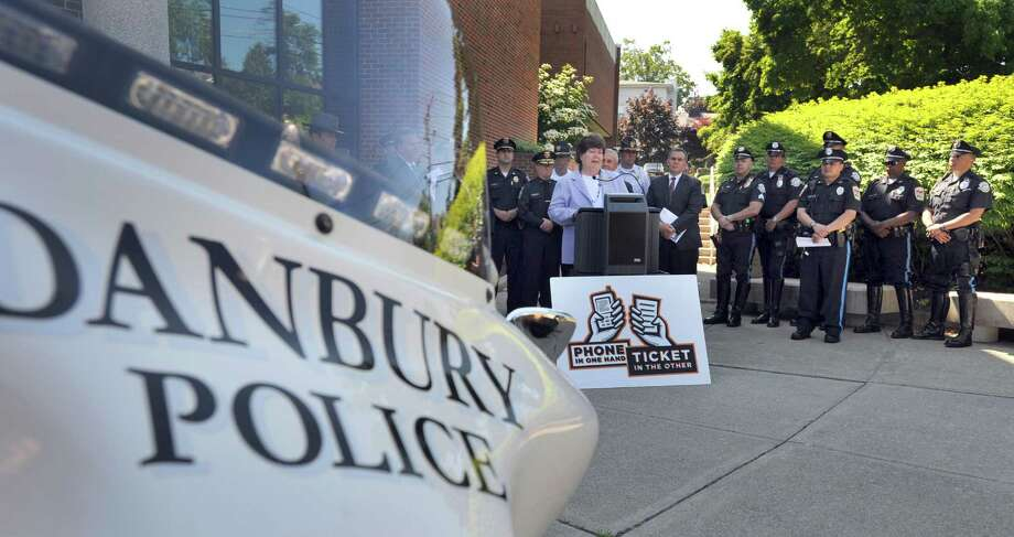 Melody A. Currey, commissioner of the Connecticut Department of Motor Vehicles, addresses a press conference Wednesday morning. The State Department of Transportation announced an anti-texting enforcement campaign for Danbury and five other area towns, Wednesday, June 19, 2013. The press conference, held at City Hall in Danbury, Conn., was attended by DOT, state and local officials as well as police chiefs from area towns. Photo: Carol Kaliff / The News-Times
