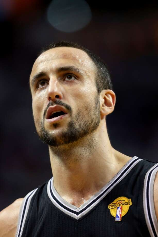 Manu Ginobili of the Spurs look on during Game 6 against the Heat.