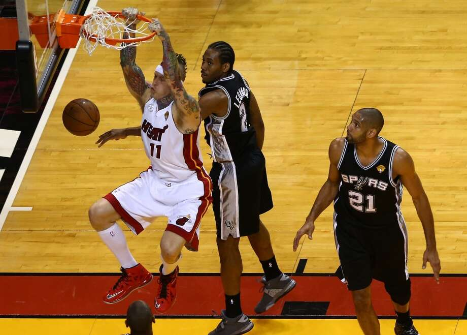 Chris Andersen of the Heat puts down a dunk against the Spurs during Game 2.