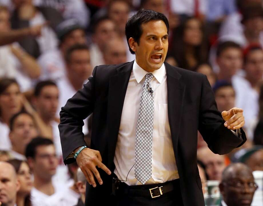Heat coach Erik Spoelstra calls out an order to his team.