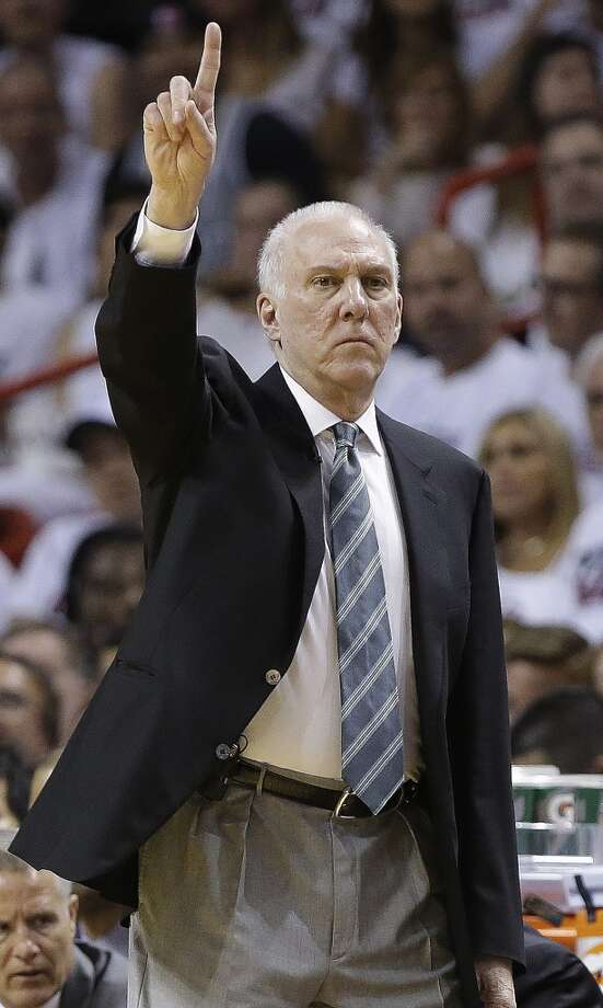 Spurs coach Gregg Popovich makes a hand signal to his team.