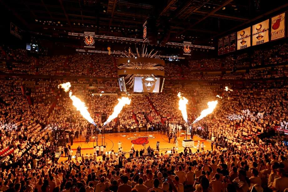 Heat players are introduced at AmericanAirlines Arena in Miami before playing Game 1 against the Spurs.