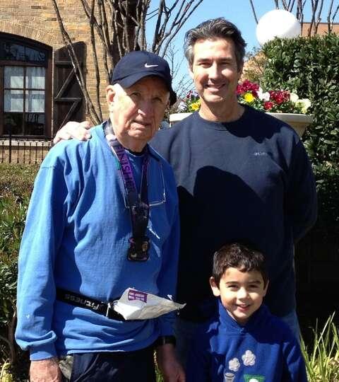 Three genrations of good-looking!  Celebrating grandpa's half-marathon finish- William Ruben Winfrey