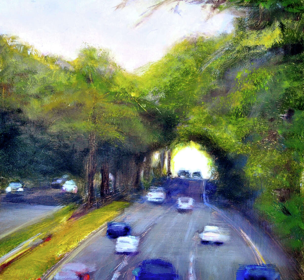 The Merritt's Canopy, by Cynthia Mullins, a Westport painter with a studio in Ridgefield, Conn. Mullins has been painting a Merritt Parkway series of canvases since 2008. The paintings are on display at the Westport Library through August 2013. This year marks the 75th anniversary Merritt Parkway.