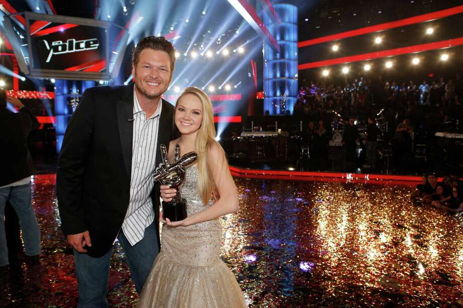 "In this image provided by NBC Blake Shelton and Danielle Bradbery pose after she won season-four of ""The Voice"" Tuesday June 18, 2013. Bradbery never had a big singing gig or a vocal lesson. It's also the third win for her coach Blake Shelton.  (AP Photo?NBC, Trae Patton) Photo: Trae Patton"