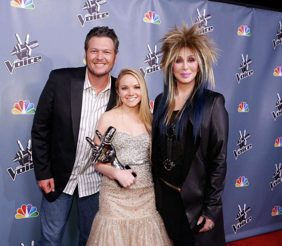 "In this image provided by NBC Blake Shelton, Danielle Bradbery and Cher, right, pose after Bradbery won season-four of ""The Voice"" Tuesday June 18, 2013. Bradbery never had a big singing gig or a vocal lesson. It's also the third win for her coach Blake Shelton.  (AP Photo/NBC, Trae Patton) Photo: Trae Patton"