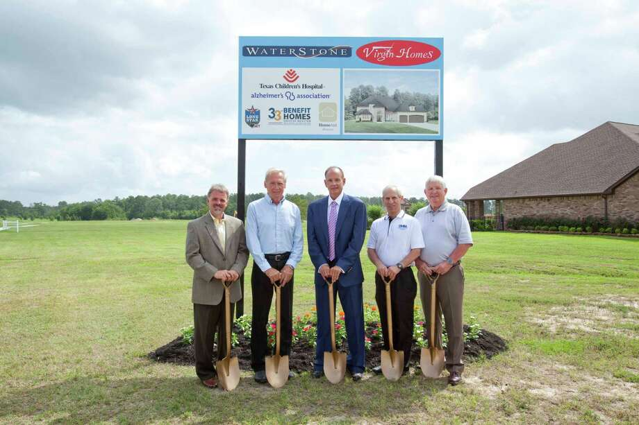 From left are Bobby Baillio, Virgin Homes manager; Harry Young, Virgin Homes construction coordinator; Steve Bowen, Virgin Homes owner; Don Klein, Benefit Homes Project chairman; and John Fox, mayor of Montgomery, as they prepare to break ground for the Benefit home to be built by Virgin Homes in WaterStone on Lake Conroe.