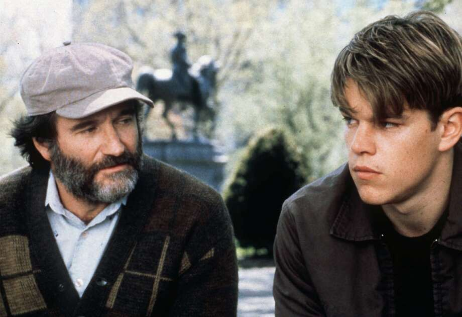 "Robin Williams, left, and Matt Damon appear in a scene from the movie ""Good Will Hunting"" in 1997. Photo: George Kraychyk, AP / MIRAMAX"