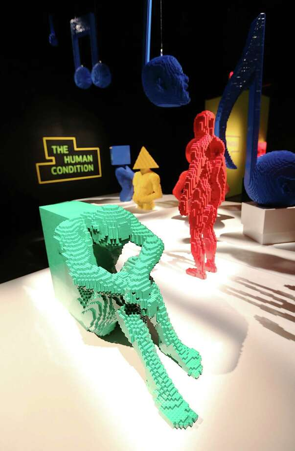 NEW YORK, NY - JUNE 18:   Nathan Sawaya sculptures are displayed in the 'Art of the Brick' show at Discovery Times Square on June 18, 2013 in New York City.  Sawaya created the pieces entirely with LEGO toy bricks and the exhibition features over 100 works of art created from millions of the toy bricks. Photo: Mario Tama, Getty Images / 2013 Getty Images