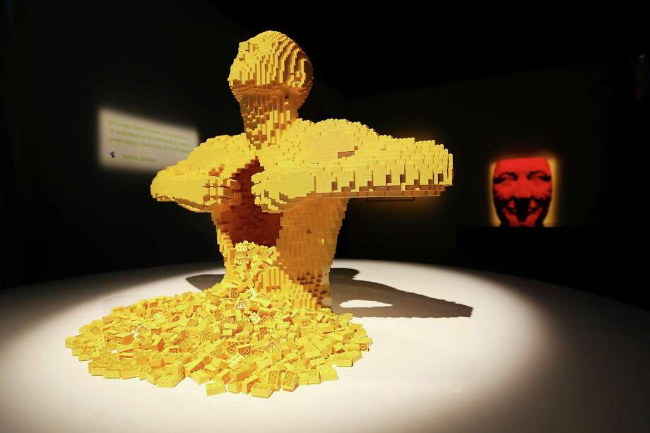 "NEW YORK, NY - JUNE 18:   ""Facemask,"" a Nathan Sawaya sculpture, is displayed in the 'Art of the Brick' show at Discovery Times Square on June 18, 2013 in New York City.  Sawaya created the pieces entirely with LEGO toy bricks and the exhibition features over 100 works of art created from millions of the toy bricks. Photo: Mario Tama, Getty Images / 2013 Getty Images"