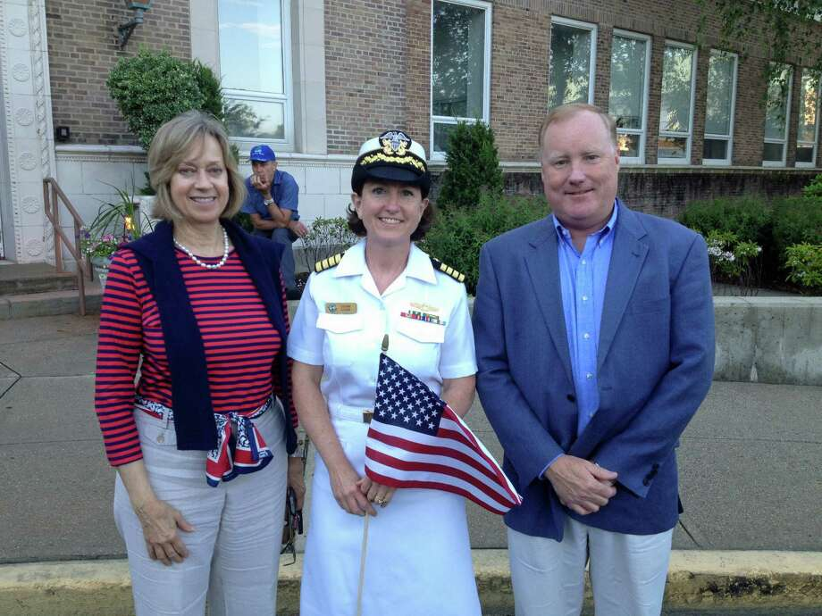 State Rep. Terrie Wood (R-141), U.S. Navy Capt. Sueann Schorr and Selectman Jerry Nielsen at the Flag Day ceremony at Darien Town Hall Friday, June 14. Mac McDonough/For the Darien News Photo: Contributed Photo