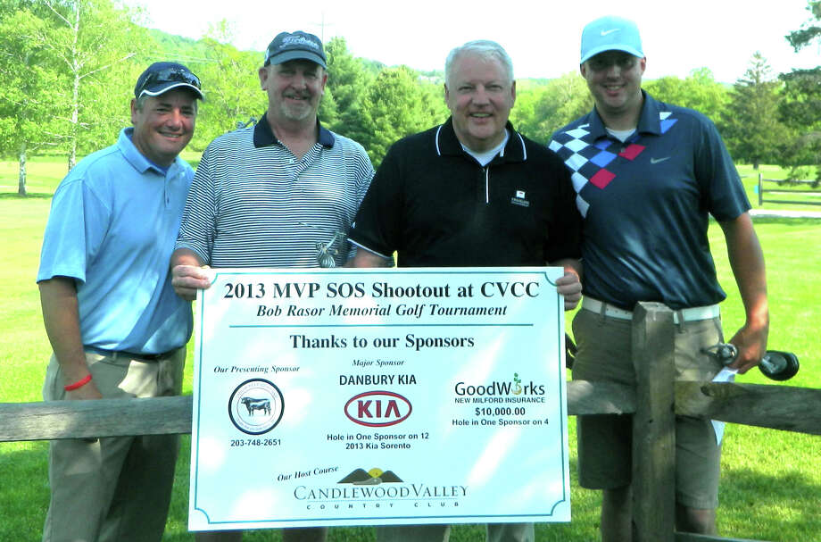 The quartet of, from left to right, Walter Bruno, Tom Hoefer, John Kaiser and Greg Kaiser claimed victory recently in the second annual MVP SOS Bob Rasor Memorial golf tournament at Candlewood Valley Country Club in New Miford. May 2013  Courtesy of MVP SOS Photo: Contributed Photo