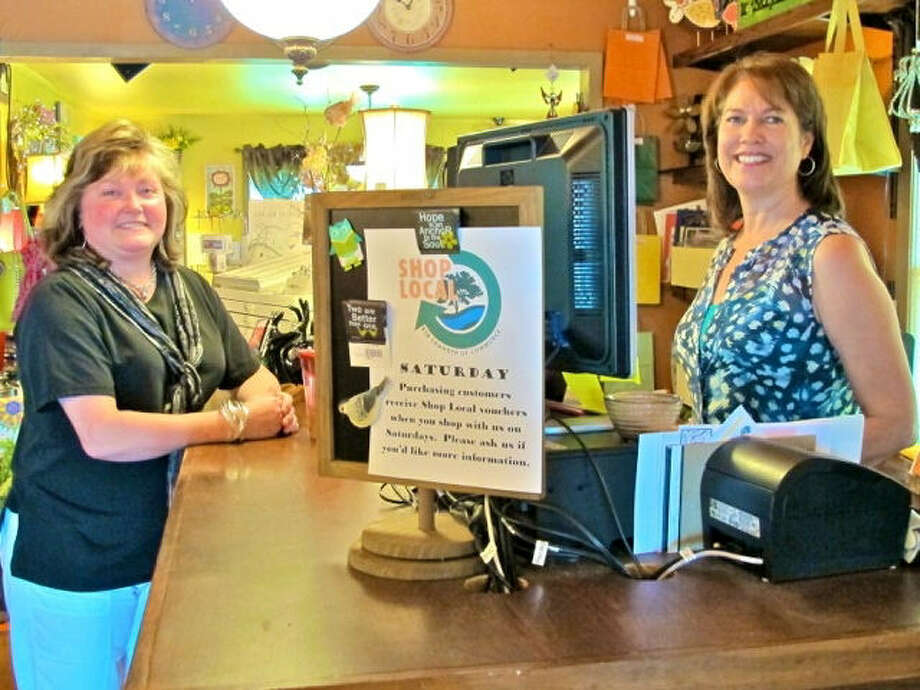 Tracie Douglas (left) visits with Melinda Taylor owner of Seasons Home Decor, Gifts and More in Bulverde, a member of the Bulverde-Spring Branch Area Chamber of Commerce. Courtesy photo