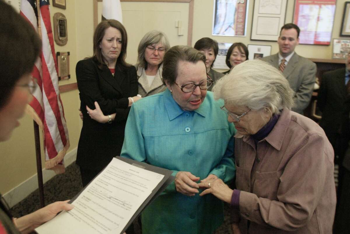 Timeline of same-sex marriage in CaliforniaFeb. 12, 2004: San Francisco Mayor Gavin Newsom authorizes the county clerk to issue marriage licenses to same-sex couples. Del Martin and Phyllis Lyon are the first to marry.