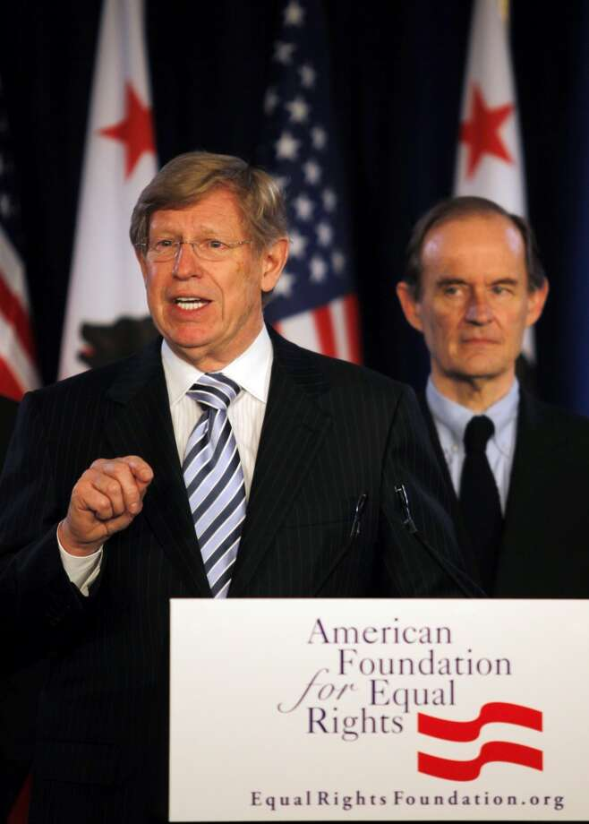 May 27, 2009:Attorneys Theodore B. Olson, left, and David Boies, announce a federal court challenge to Proposition 8.
