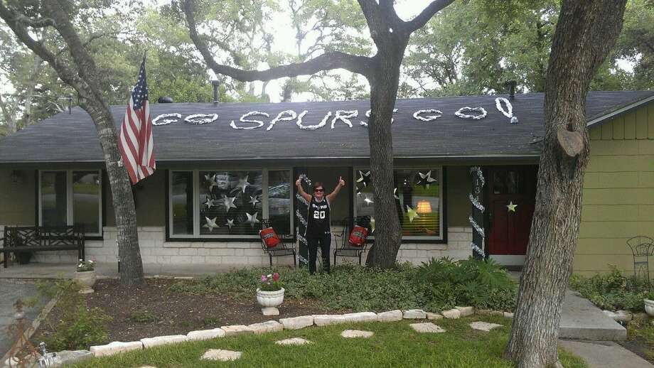 A fan shows off his Spurs decor. Photo: Reader Photo