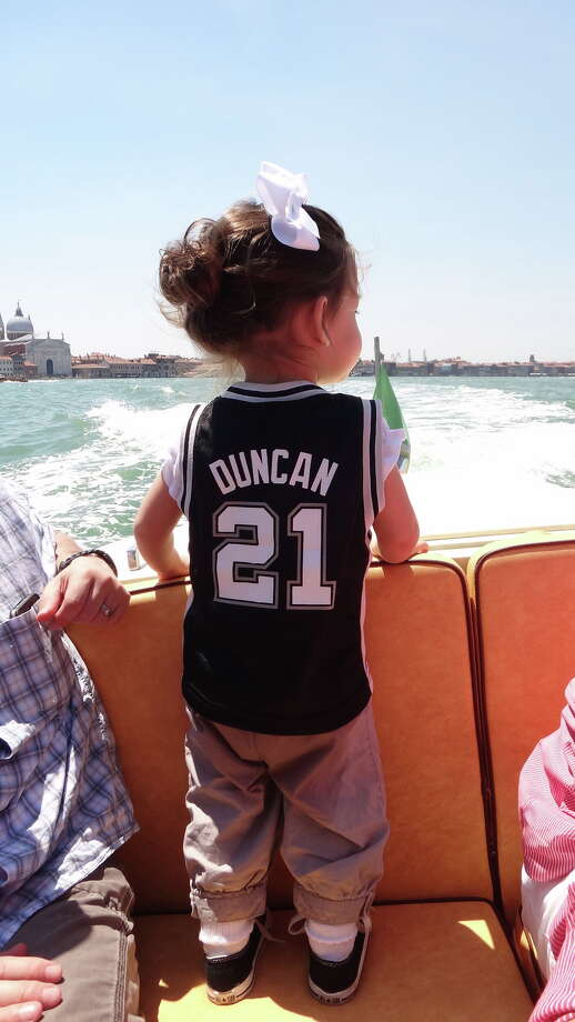 A little Spurs enthusiast in Italy takes a boat ride. Photo: Reader Photo