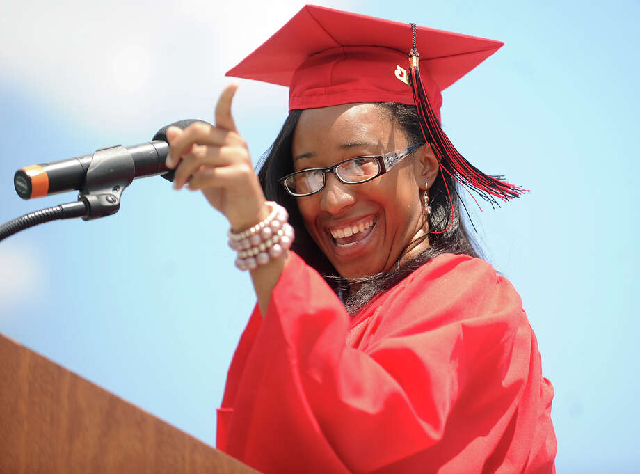 Senior Class President Imani Rochester. Central High School graduation at Kennedy Stadium in Bridgeport, Conn. on Wednesday, June 19, 2013. Photo: Brian A. Pounds / Connecticut Post