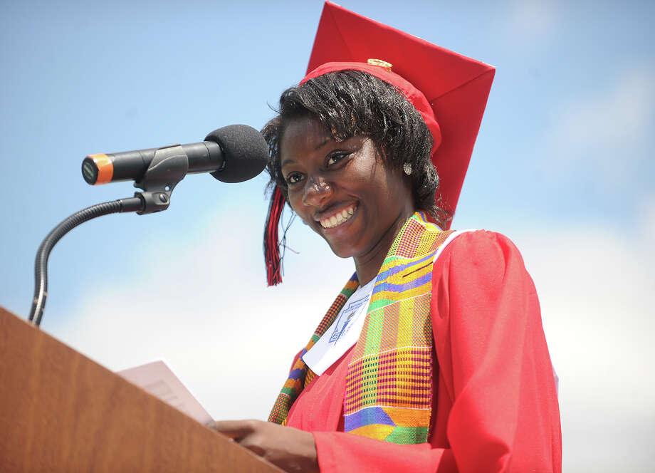 Salutatorian Monsurat Olaosebikan. Central High School graduation at Kennedy Stadium in Bridgeport, Conn. on Wednesday, June 19, 2013. Photo: Brian A. Pounds / Connecticut Post