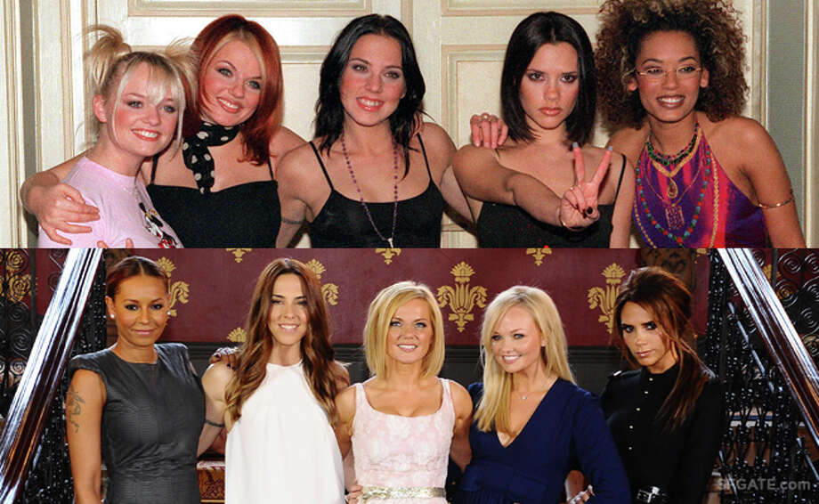 Spice Girls as they were back in the '90s, and at a recent reunion. Photo: AP/Getty Images