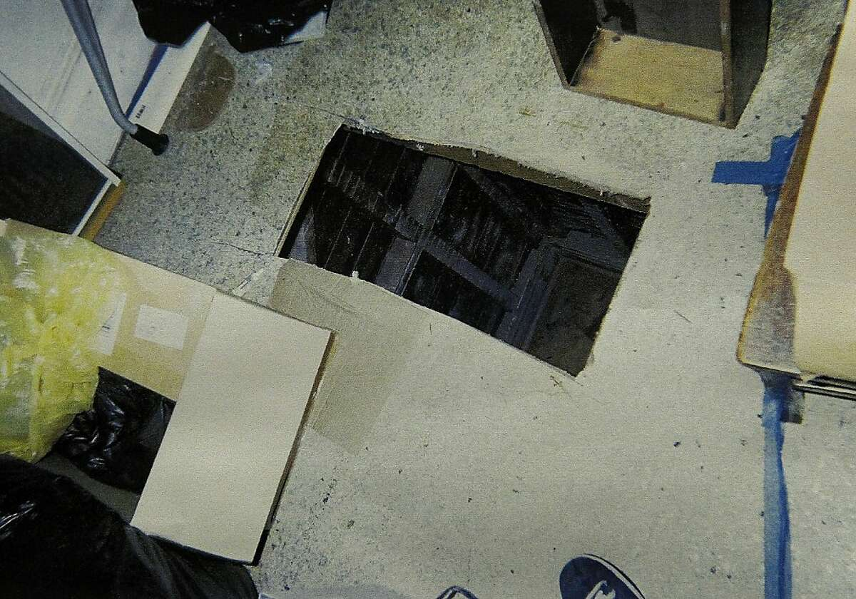 A photograph provided by the district attorney's office showing one of the holes cut into the tenants' apartment floor. San Francisco District Attorney George Gascon announced that Kip and Nicole Macy, the so-called landlords from hell, had plead to several felony counts that will put them in prison for more than four years for trying to evict tenants from their South of Market building.