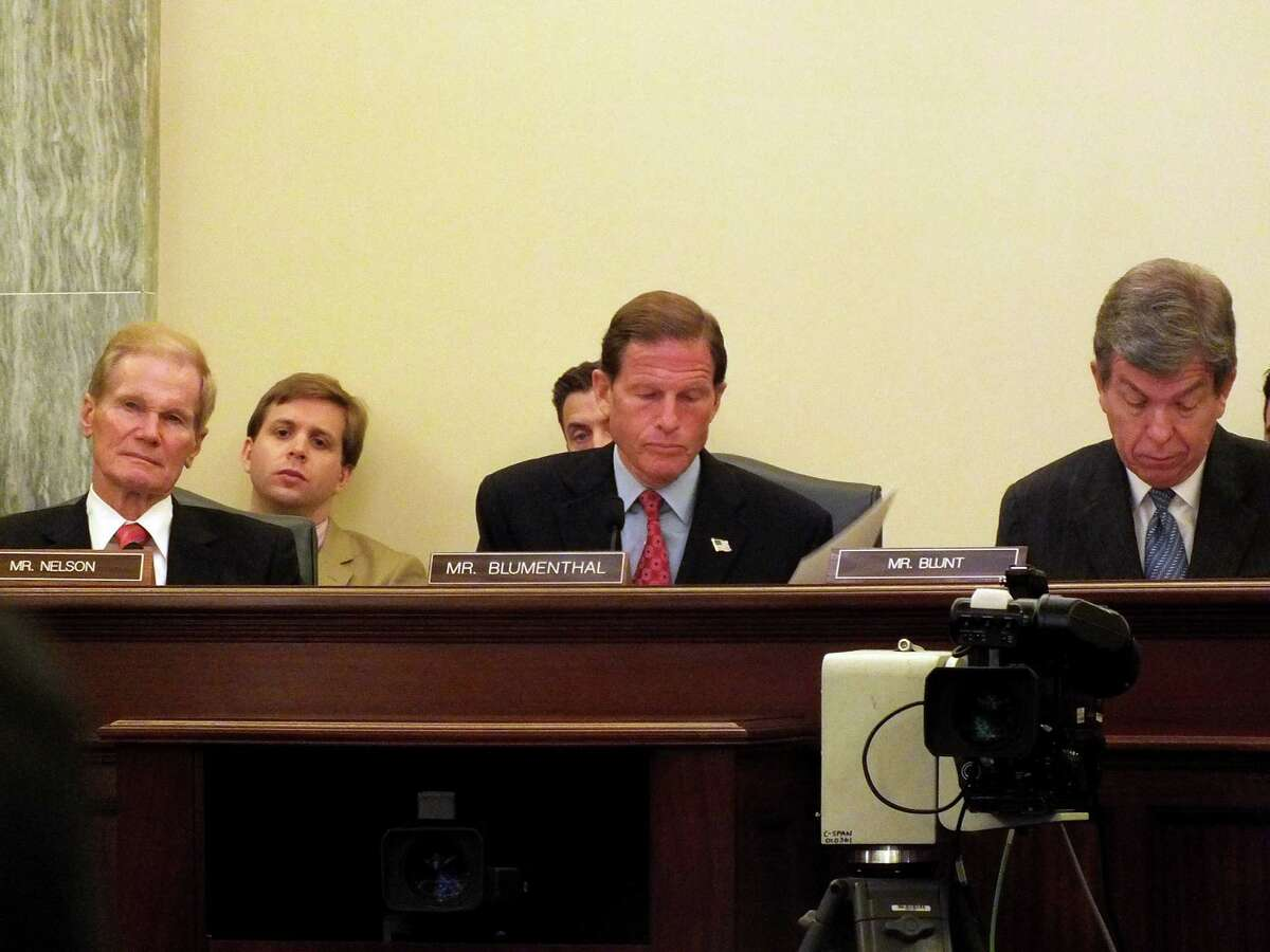 Sen. Richard Blumenthal and Missouri Republican Sen. Roy Blunt probe the panel experts as co-chairs of the Commerce Committee hearing on rail safety Wednesday, June 19, 2013 in Washington, D.C. The committee examined high-profile rail accidents, including the deadly May rail collision in Bridgeport.