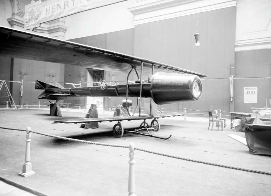 The Coanda-1910 experimental aircraft is displayed at the Second International Aeronautical Exhibition at the Grand Palais in Paris, October 1910. The aircraft was designed by Romanian inventor Henri Coanda (1886 - 1972) and was most notable for its unique engine, which Coanda later claimed to be a precursor to jet engines. Photo: Roger Viollet, Roger Viollet/Getty Images / 2010 Getty Images